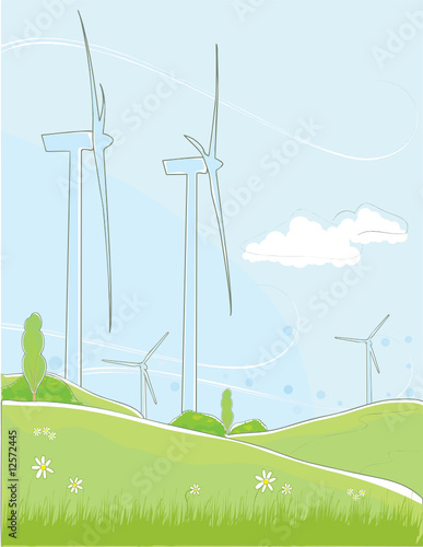 Lineart of Wind turbines on a hill