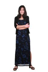 Teenage girl in elegant dress standing