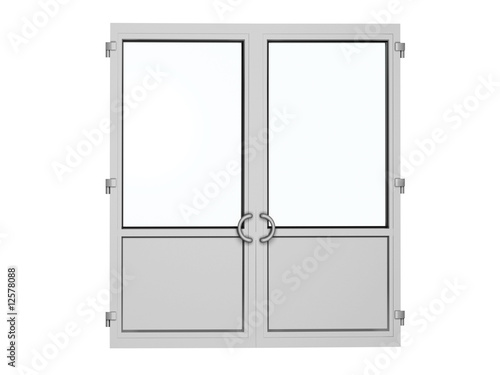 two frame plastic door isolated on white - 12578088