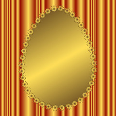 Golden banner in the form of an easter egg