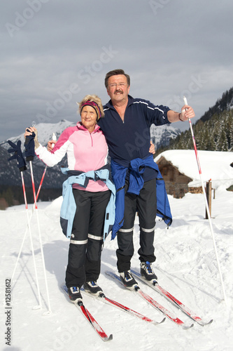 4448854. Stock Photo - A senior couple outdoor in a winter setting.