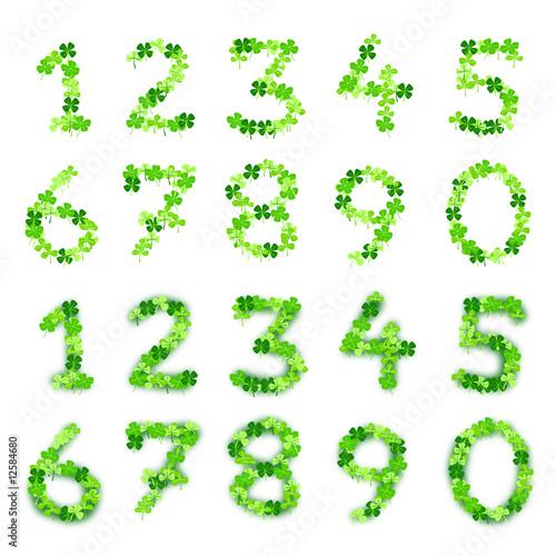Kleeblattzahlen trefoil numbers 1 2 3 4 5 6 7 8 9 0 quot stock image