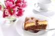 Kuchen mit Schokolade und Kirschen, Tulpen