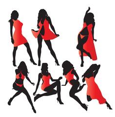 Set of vector girls in red lingerie