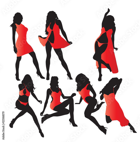 Set of vector girls in red lingerie