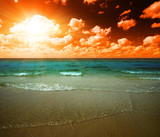 sunset and tropical ocean poster