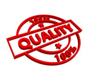 """""""100% Quality"""" stamp (3D) (red)"""