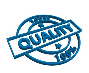 """100% Quality"" stamp (3D) (blue)"