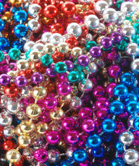 closeup of Mardi Gras beads