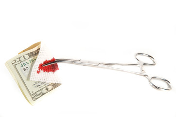 hemostat with bloody money