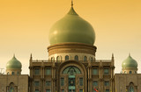 Islamic architecture landscape in sunset poster