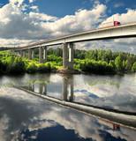 bridge and truck, Saima channel, Baltic sea, highway Scandinavia poster