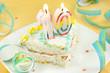 slice of tenth birthday cake