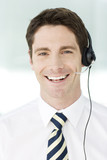 A man wearing a headset
