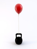 Kettle bell and red ballon