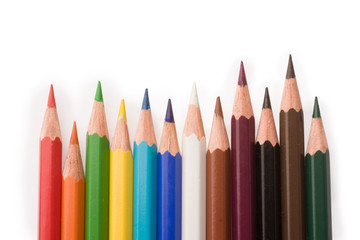 coloured pencils isolated on white background