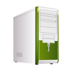 Green corps of computer. Vector.