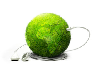 Green earth listening to music
