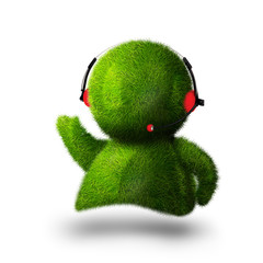 Cute green person answering phone at call center