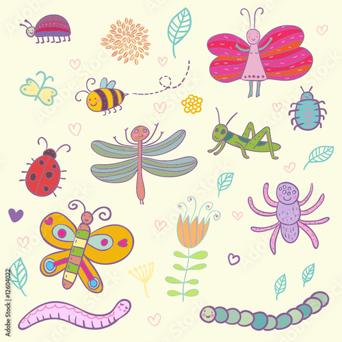 Funny cartoon insects