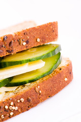 Cheese and cucumber sandwich
