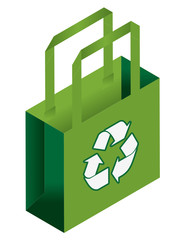 vector isometric cloth green canvas bag illustration icon