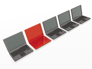 Laptops - red and greys
