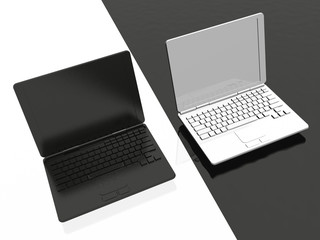 Laptops - black and white