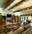 Vaulted and Beamed Ceiling in Living Room