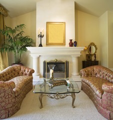 Sofas Flanking Fireplace in Living Room