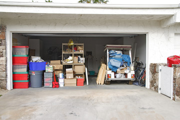 Open Garage Used for Storage