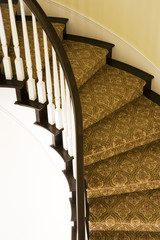Carpeted Curving Staircase