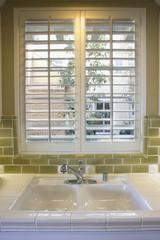Kitchen Sink and Green Tile Backsplash