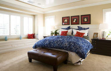 Red and Blue Accents in Bedroom