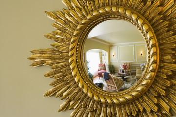 Reflection in Ornate Convex Mirror
