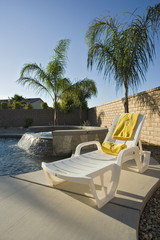 Deck Chair on Patio by Pool