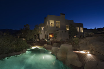 Contemporary House in Desert Landscape at Night