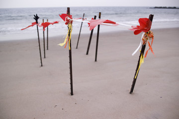 Fence Posts Marking a Secure Area on a Beach