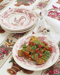 Fried Chicken Salad on Chicken Plates and Tablecloth