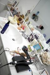 Disorganized Bathroom Vanity Counter