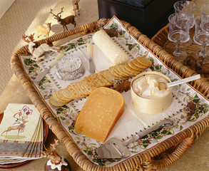 Cheese and Cracker Tray on Table