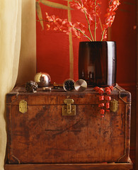 Antique Leather Suitcase by Drapery