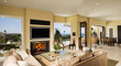 Fireplace and Flat Panel Television in Living Room