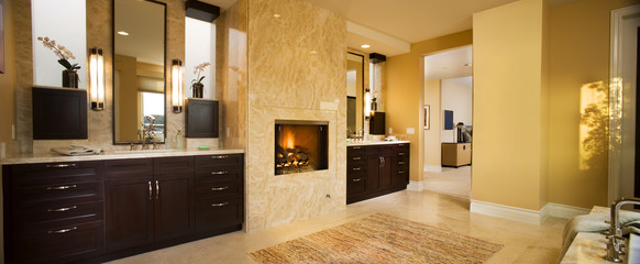 Large Master Bathroom with Fireplace