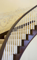Winding Staircase with Stenciled Walls