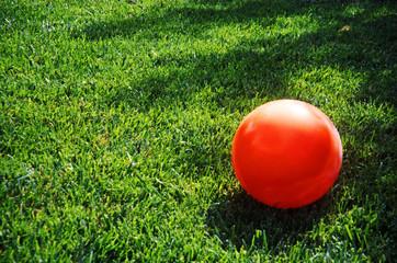 An orange kickball lays on a green grassy lawn