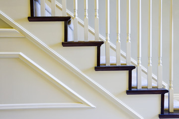 Detail of White Stairs with Railing