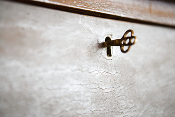 Detail of Key in Lock on Box