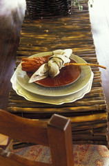Plates on Bamboo Table Runner