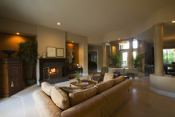 Fireplace in Living Room with View to Entry Hall